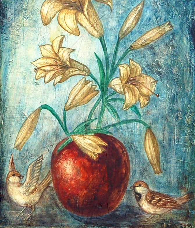 lilies in a vase and little birds painting