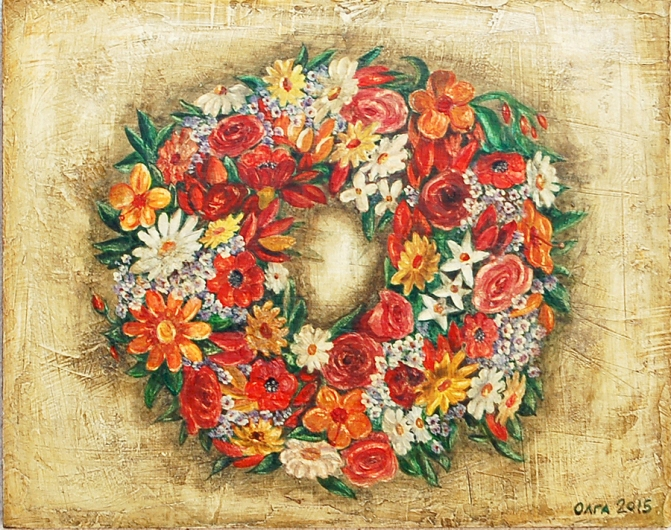 colorful flowers in a wreath