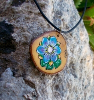 handmade wooden hand painted pendant